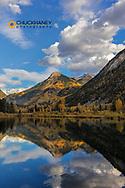Whitehouse Mountain reflects into beaver pond near Marble, Colorado, USA