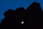 A climber at night on a rock route in Eldorado Canyon State Park, Colorado.