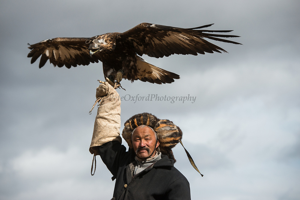 Kazakh eagle hunter<br /> Mongolia's largest ethnic minority<br /> Altai Mountains<br /> Western Mongolia
