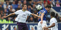 Everton's Phil Jagielka (L) and Leicester City's David Nugent in action during todays match  <br /> <br /> Photographer Jack Phillips/CameraSport<br /> <br /> Football - Barclays Premiership - Leicester City v Everton - Saturday 16th August 2014 - King Power Stadium - Leicester<br /> <br /> © CameraSport - 43 Linden Ave. Countesthorpe. Leicester. England. LE8 5PG - Tel: +44 (0) 116 277 4147 - admin@camerasport.com - www.camerasport.com