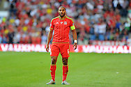 Ashley Williams of Wales in action. Euro 2016 qualifying match, Wales v Israel at the Cardiff city stadium in Cardiff, South Wales on Sunday 6th Sept 2015.  pic by Andrew Orchard, Andrew Orchard sports photography.