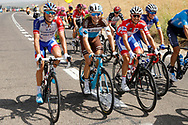 Thibaut Pinot (FRA - Groupama - FDJ), Tony Gallopin (FRA - AG2R - La Mondiale), Rudy Molard (FRA - Groupama - FDJ) red jersey, during the UCI World Tour, Tour of Spain (Vuelta) 2018, Stage 8, Linares - Almaden 195,1 km in Spain, on September 1st, 2018 - Photo Luis Angel Gomez / BettiniPhoto / ProSportsImages / DPPI