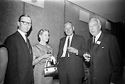 16/06/1967<br /> 06/16/1967<br /> 16 June 1967<br /> General Assembly of the Wine and Spirit Federation Farewell dinner at the Hibernian Hotel, Dublin, that ended the 1967 General Assembly of the Federation Internationale des Industries et du Commerce en Gros des Vines, Spiriteux, Eaux-de-vie, et Liqueurs, held in Dublin for the first time. <br /> Picture shows (l-r): Mr A.C. Crichton, Cairman and Managing Director of John Jameson and Sons; Mrs A.C. Crichton; Mr Austen Boyd, Managing Director, Old Bushmills Distillery Co. Ltd. and Mr. Carl Tesdorpf of Germany, President of the Federation.