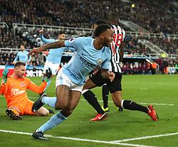 27 December 2017 Newcastle: Premier League Football - Newcastle United v Manchester City : Raheem Sterling of City celebrates the winning goal.<br /> (photo by Mark Leech)