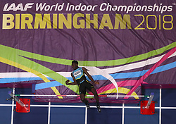 Bahamas' Bailey Thomas in action during the Men's High Jump during day one of the 2018 IAAF Indoor World Championships at The Arena Birmingham, Birmingham. PRESS ASSOCIATION Photo. Picture date: Thursday March 1, 2018. See PA story ATHLETICS Indoor. Photo credit should read: Simon Cooper/PA Wire.