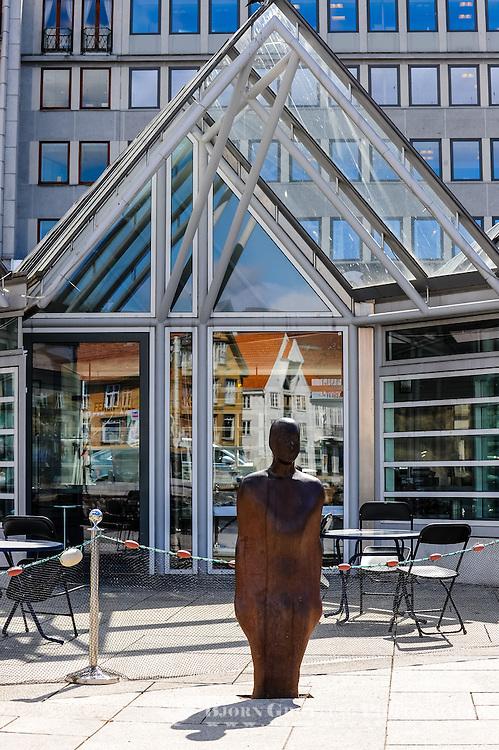 Norway, Stavanger. Broken Column sculpture in front of the fish market.