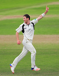 James Harris of Middlesex celebrates the wicket of Craig Overton.  - Mandatory by-line: Alex Davidson/JMP - 12/07/2016 - CRICKET - Cooper Associates County Ground - Taunton, United Kingdom - Somerset v Middlesex - Day 3 - Specsavers County Championship Division One