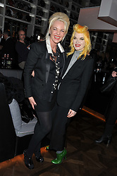 Left to right, AMANDA ELIASCH and PAM HOGG at W London - Leicester Square for the Liberatum Cultural Honour in Spice Market for John Hurt, CBE in association with artist Svetlana K-Lié on 10th April 2013.