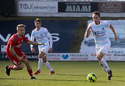 Frederik Bay (FC Helsingør) under kampen i 1. Division mellem FC Fredericia og FC Helsingør den 4. oktober 2020 på Monjasa Park i Fredericia (Foto: Claus Birch).