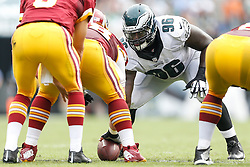 Philadelphia Eagles nose tackle Bennie Logan #96 on the line of scrimmage during the NFL Game between The Washington Redskins and The Philadelphia Eagles at Lincoln Financial Field in Philadelphia on Sunday September 21st 2014. The Eagles won 37-34. (Brian Garfinkel/Philadelphia Eagles)