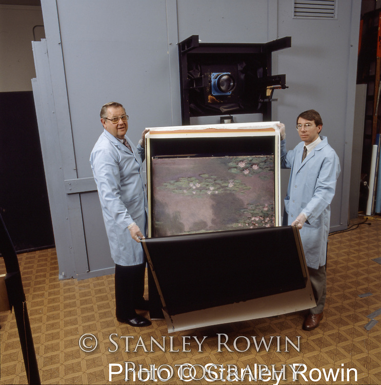 """1:1 replica of Monet's """"Water Lilies I, 1905"""" shot on Polaroid 40 x 80"""" camera (behind the 2 technicians) at Boston's Museum of Fine Arts"""