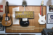 The control room is decorated with autographed guitars and signage, Thursday, July 26, 2012, at Liquid Sound Studios in Greenville, Ind. (Photo by Brian Bohannon)