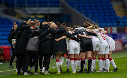 CARDIFF, WALES - Tuesday, April 13, 2021: Denmark players form a pre-match huddle before a Women's International Friendly match between Wales and Denmark at the Cardiff City Stadium. (Pic by David Rawcliffe/Propaganda)