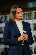 London, United Kingdom, Aug 3, 2021: Sviatlana Tsikhanouskaya, opposition leader of Belarus met with her supporters at One Great George Street in London on Tuesday, Aug 3, 2021 - following a meeting with Britain's PM Boris Johnson. Tsikhanouskaya, who challenged Belarusian President Alexander Lukashenko's re-election last year, was forced to leave the country shortly after the vote in August. (VX Photo/ Vudi Xhymshiti)