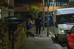 © Licensed to London News Pictures. 19/01/2020. London, UK. A dog handler and sniffer dog search for evidence as an investigation is launched into the deaths of three men in Redbridge, all of whom had suffered apparent stab injuries. Photo credit: Peter Manning/LNP