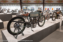 Britih Columbia based Flashback Fabrications bike builder Paul Brodie's Harry Hi-pipes contemporary build of a 1919 OHC Excelsior Board Tracker on display in the What's the Skinny Exhibition (2019 iteration of the Motorcycles as Art annual series) at the Sturgis Buffalo Chip during the Sturgis Black Hills Motorcycle Rally. SD, USA. Friday, August 9, 2019. Photography ©2019 Michael Lichter.