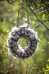 Wool bird nesting hanging circle