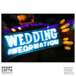 Neon sign reading 'Wedding Information' at Fremont Street, Las Vegas, Nevada, USA.<br />