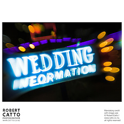 Neon sign reading 'Wedding Information' at Fremont Street, Las Vegas, Nevada, USA.<br />