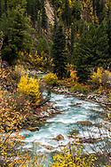 The Greys River on a fine autumn day near Alpine Wyoming as it winds between the Salt River Range and the Wyoming Range in Western Wyoming.