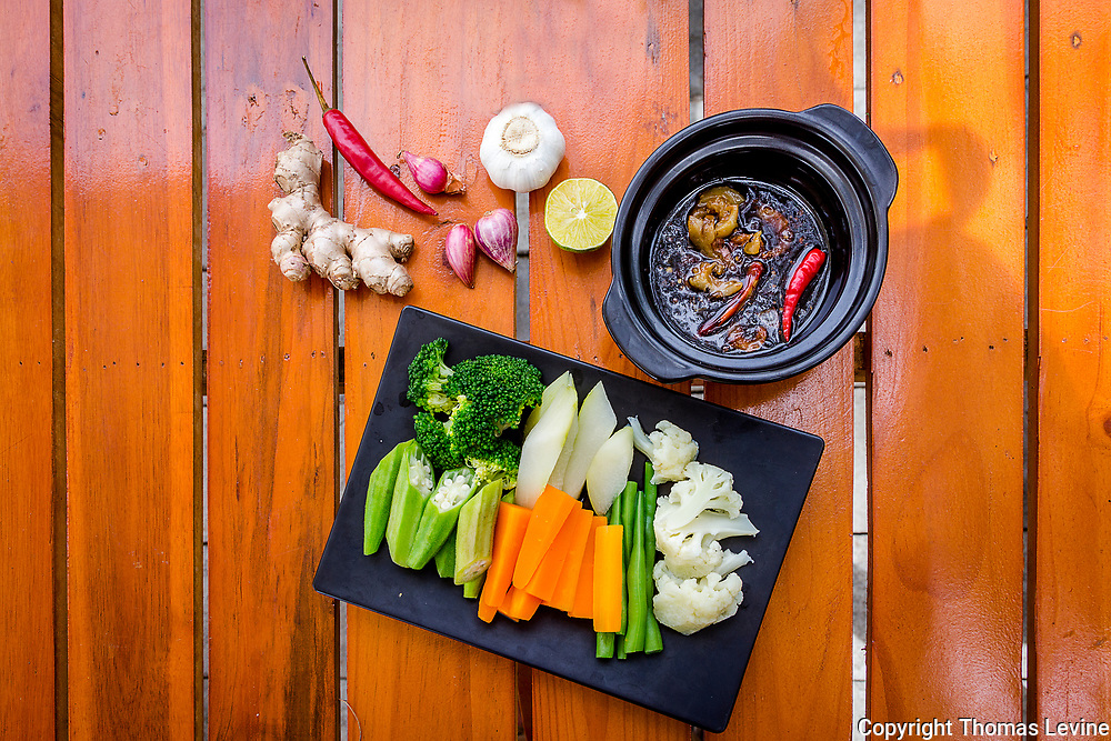 Vegetable plate of raw with herbs