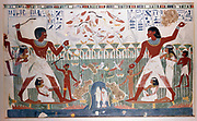 Ancient Egyptians hunting wildfowl with throwing sticks. Picture shows Papyrus reed bed with fish and numerous birds including flock of geese taking to the air.  British Museum