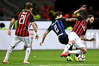 Sime Vrsaljko of Internazionale and Gonzalo Higuain of AC Milan compete for the ball during the Serie A 2018/2019 football match between Fc Internazionale and AC Milan at Giuseppe Meazza stadium Allianz Stadium, Milano, October, 21, 2018 <br />  Foto Andrea Staccioli / Insidefoto