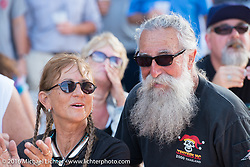 Vicki Spitfire Sanfelipo and Tony Pan Sanfelipo at the Harley-Davidson Museum, one of the official venues for the Milwaukee Rally. Milwaukee, WI, USA. Sunday, September 4, 2016. Photography ©2016 Michael Lichter.