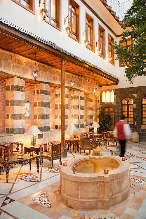 Courtyard at the Al Pasha boutique hotel on Straight Street, Damascus, Syria