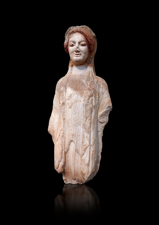 Ancient Greek Archaic statuette of a  kore, found in the Acropolis Athens, 490 BC, Athens National Archaeological Museum. Cat no BE 16/2009. Against black<br /> <br /> The kore statues hair is adorned with a wreath and her ears by round disk earings. Traces of paint can be found on her garments and jewellery. Red paint was found on her hair and eyes, Acropolis Museum Cat no 687 .<br /> <br /> If you prefer to buy from our ALAMY STOCK LIBRARY page at https://www.alamy.com/portfolio/paul-williams-funkystock/greco-roman-sculptures.html . Type -    Athens    - into LOWER SEARCH WITHIN GALLERY box - Refine search by adding a subject, place, background colour, etc.<br /> <br /> Visit our ROMAN WORLD PHOTO COLLECTIONS for more photos to download or buy as wall art prints https://funkystock.photoshelter.com/gallery-collection/The-Romans-Art-Artefacts-Antiquities-Historic-Sites-Pictures-Images/C0000r2uLJJo9_s0