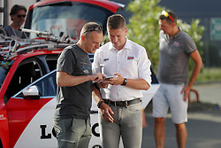 July 4, 2018 - Mouilleron Le Captif, France - MOUILLERON-LE-CAPTIF, FRANCE - JULY 4 : photographer Vincent Kalut and WILLEMS Frederik  (BEL) Ass. Sports Director of Lotto Soudal during a team reconnaissance of stage 1 prior the 105th edition of the 2018 Tour de France cycling race, a stage of 201 kms between Noirmoutier-en-l'Ile and Mouilleron-Le-Captif on July 04, 2018 in Mouilleron-Le-Captif, France, 4/07/18 (Credit Image: © Panoramic via ZUMA Press)