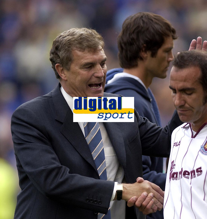 Copyright Sportsbeat. 0208 3926656<br />Picture: Henry Browne<br />Date: 11/05/2003<br />Birmingham City v West Ham United FA Barclaycard Premiership<br />Trevor Brooking tries to console Paolo Di Canio after the match