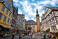 View of the Cochem Town Square, Bustling Market, and Tower, Cochem, Germany.