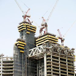 New office tower inder construction in business district of Doha Qatar
