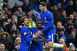 November 29, 2017 - London, England, United Kingdom - Chelsea Forward Alvaro Morata (9) and Marcos Alonso celebrate Chelsea Defender Antonio Rudiger's goal during the Premier League match between Chelsea and Swansea City  at Stamford Bridge, London, England on 29 Nov 2017. (Credit Image: © Kieran Galvin/NurPhoto via ZUMA Press)