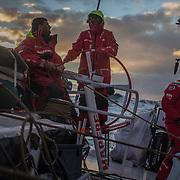 Leg 3, Cape Town to Melbourne, day 14, Tamara Echegoyen, Blair Tuke, Louis Sinclair on board MAPFRE. Photo by Jen Edney/Volvo Ocean Race. 23 December, 2017.