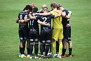 Hawke's Bay United's players huddle before the Handa Premiership football match, Hawke's Bay United v Waitakere United, Bluewater Stadium, Napier, Sunday, December 20, 2020. Copyright photo: Kerry Marshall / www.photosport.nz