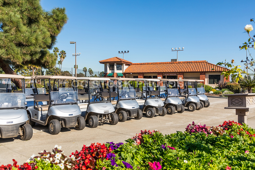 Parked Golf Carts by the Pro Shop at Costa Mesa Public Golf and Country Club