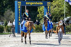 Prijsuitreiking, Vanderhasselt Yves, Clemens Pieter, Verlooy Jos<br /> Belgisch Kampioenschap Jumping  <br /> Lanaken 2020<br /> © Hippo Foto - Dirk Caremans<br /> <br />  05/09/2020