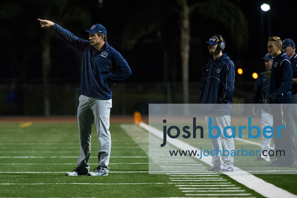Crean Lutheran head coach Brett Mertens during the CIF-SS East Valley Divison Second Round  at Irvine High School on Friday, November 20, 2015 in Irvine, California. (Photo/Josh Barber)