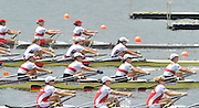 Hamilton, NEW ZEALAND. USA W4X-  Moving away from the start pontoon in their quadruple scull repechage at the 2010 World Rowing Championships, Lake Karapiro. crew bow Margot SHUMWAY, Sarah TROWBRIDGE, Megan KALMOE and Naterlie DELL.  and GER W4X, Bow Britta OPPELT, Carine BAER, Tina MANKER and Julia RICHTER. Wednesday - 03.11.2010, [Mandatory Credit Peter Spurrier:Intersport Images].