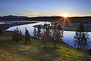 Sunrise over the Yellowstone River in Yellowstone National Park.