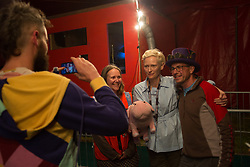 Tilda Swinton posing for photos with fans after a special screening of the South-Korean American Netflix film Okja at the Pilton Palais cinema tent on Day 1 of the 2017 Glastonbury Festival at Worthy Farm in Somerset. Photo date: Saturday, June 24, 2017. Photo credit should read: Richard Gray/EMPICS Entertainment