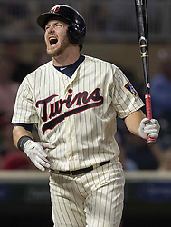 September 13, 2017 - Minneapolis, MN, USA - The Minnesota Twins' Robbie Grossman reacts after striking out in the ninth inning against the San Diego Padres on Wednesday, Sept. 13, 2017, at Target Field in Minneapolis. The Twins won, 3-1, in 10 innings. (Credit Image: © Carlos Gonzalez/TNS via ZUMA Wire)