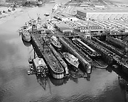 Ackroyd 14830 NW Marine Iron Works. Aerial of Swan Island dry docks. September 6, 1967