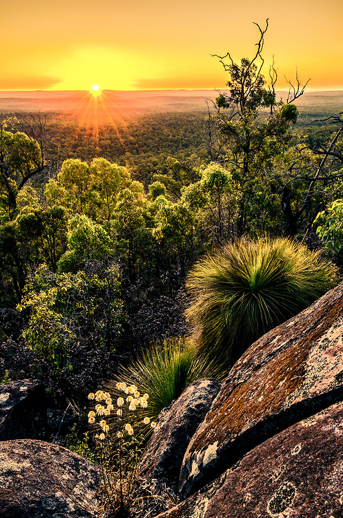 Sunset from Mount Dale. At 546 m high, it is one of the highest in the Darling Scarp.