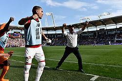 May 6, 2018 - Toulouse, France - Joue fin de match Christophe Galtier  (Credit Image: © Panoramic via ZUMA Press)