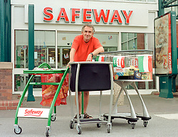 Bill Duckenfield trying out the shopping trolleys of the future at the Viva Italia Safeway Roadshow