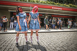 November 2, 2018 - Participants of the Zombie Walk, public march of people dressed as zombies, gathered in the vicinity of the Valley of the Anhangabau, the event happens in several cities of the world since 2001, when it appeared in California. The event takes place in the capital of São Paulo since 2006 on the Day of the Dead. (Credit Image: © Dario Oliveira/ZUMA Wire)