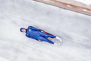 LILLEHAMMER, NORWAY - FEBRUARY 1994:  Duncan Kennedy of the USA competes in the Men's Singles Luge event of the 1994 Winter Olympics at the Lillehammer Olympic Bobsleigh and Luge Track near Lillehammer, Norway.  (Photo by David Madison/Getty Images)